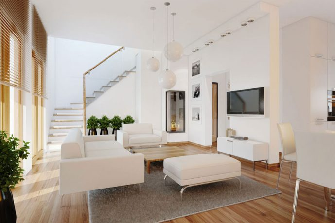 Contemporary White Living Room Plants with LCD TV