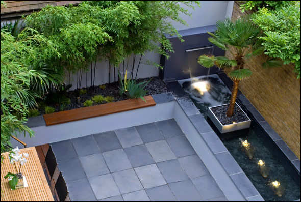 Contemporary Couryard Water Feature Bamboo Grass