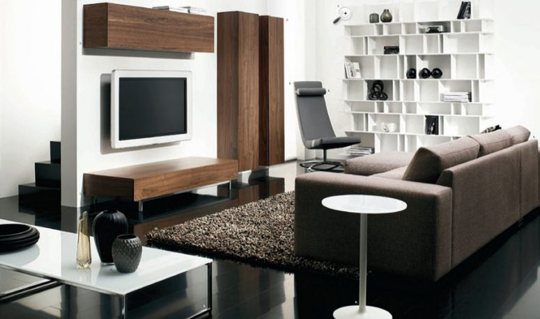Contemporary Living Room with White Rack