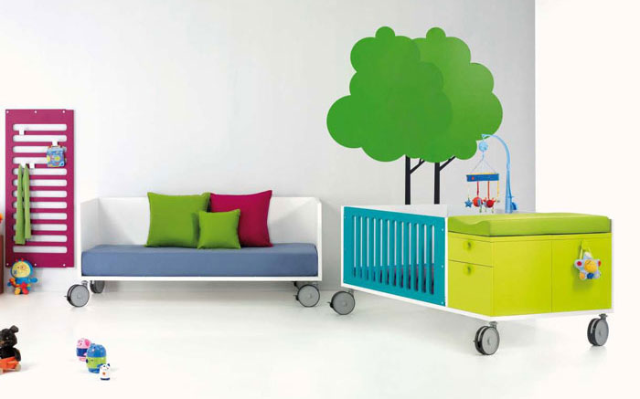 Cool Crib and Sofas for Kids with Tree Wallpaper