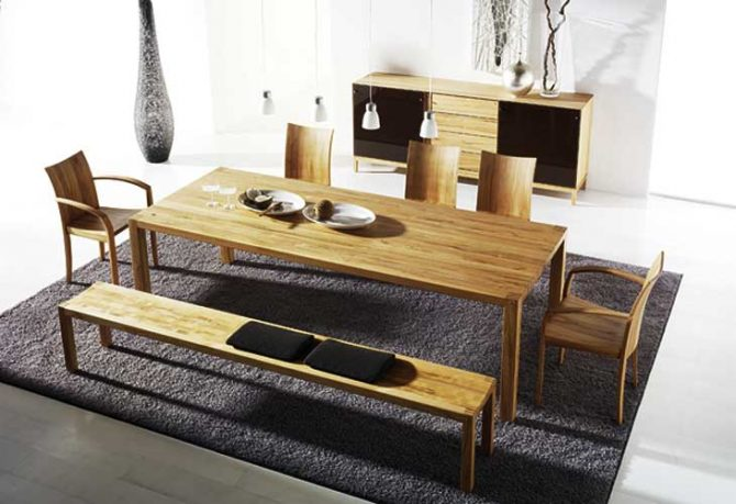 Cool Loft Dining Table Modern Cabinet with Black Rug