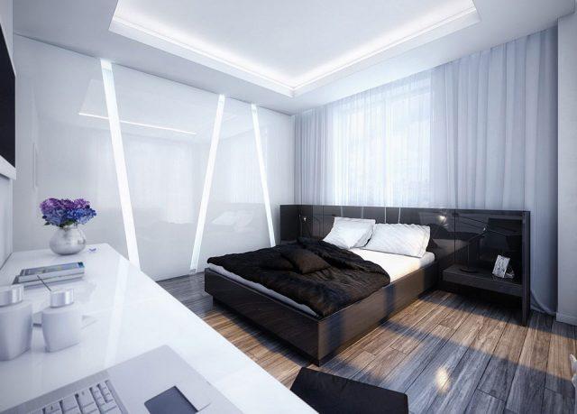 Cool White and Black Bedroom Design Inspiration