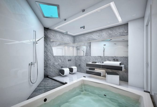 Cool White and Grey Bathroom With Large Bathtub
