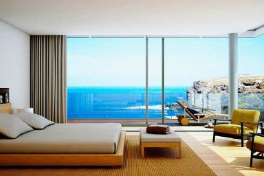 Cool Wooden Furniture Bedroom With Amazing Beach View