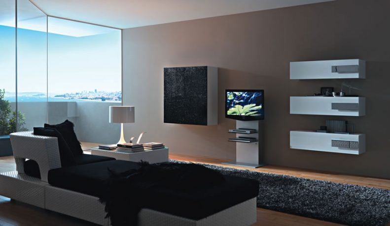 Exotic Color Living Room with White Wall Unit