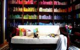 Great Lighting Home Library with Clasic White Sofa
