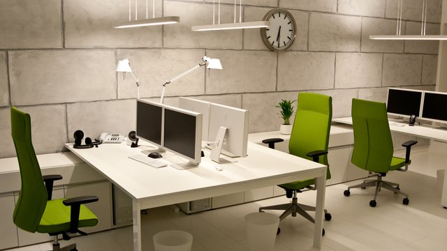 Green and White Work Stations Design