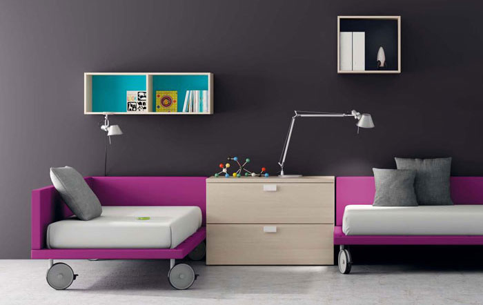 Grey Kids Room with Purple Bed Furniture
