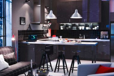 IKEA Contemporary Design With Chandelier and Mini Bar