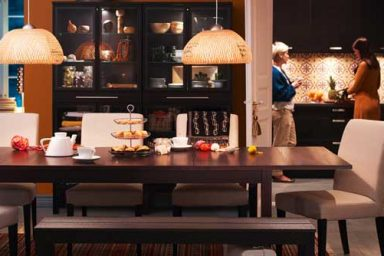IKEA Romantic Dining Room Design with Chandelier