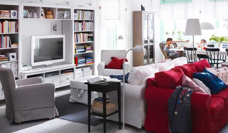 IKEA White Living Room Desing with Red and White Sofa