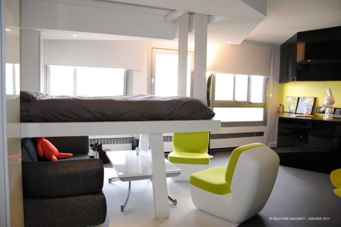 Loft Bedroom Small Space Area with Green Accent