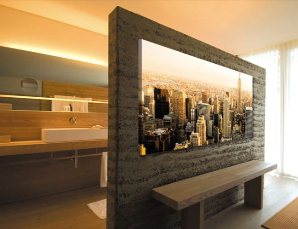 Modern Bathroom with Cityscape Wallpaper Poster