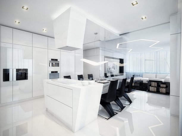 Modern Black and White Dining Room and Kitchen with Best Lighting Decorations
