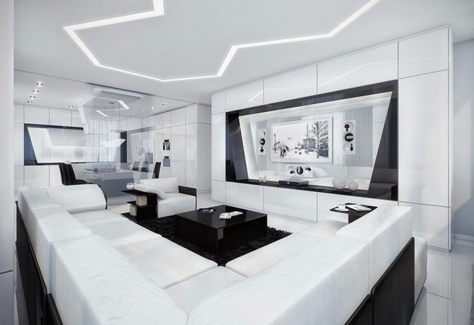 Modern Black and White Living Room with Black Rug