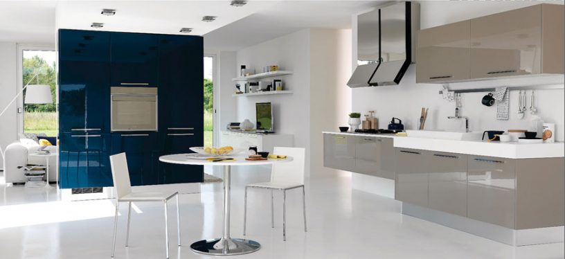 Modern Kitche Design With Blue Wall Decor