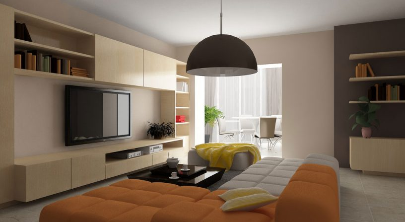 Modern Living Room with Orange and White Sofa