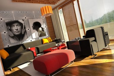 Modern Loud Colors Living Room Design
