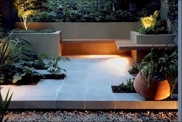 Modern Roof Garden Patio with Wrap Around Bench