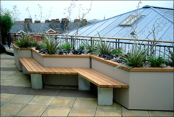 Modern Rooftop Deck Beautiful Plants Rock Garden