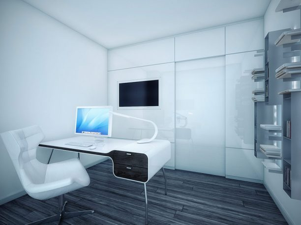 Modern White Office Area with Wooden Floor