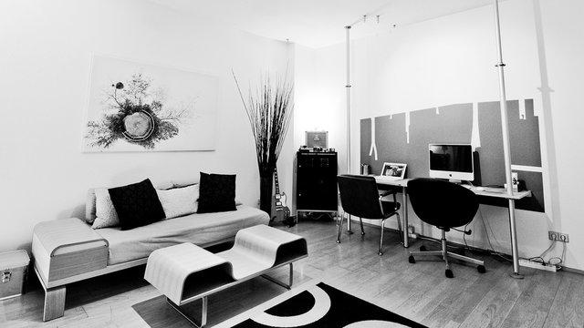 Modern White and Black Mac Desk