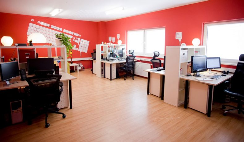 Orange Wall with Keyboard Office Decorations