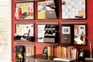 Red Stripe Wall Storage Combination