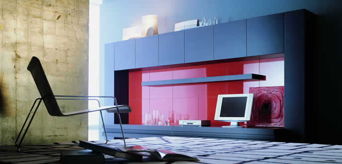 Simple Red and Black Wall Unit Living Room Furniture