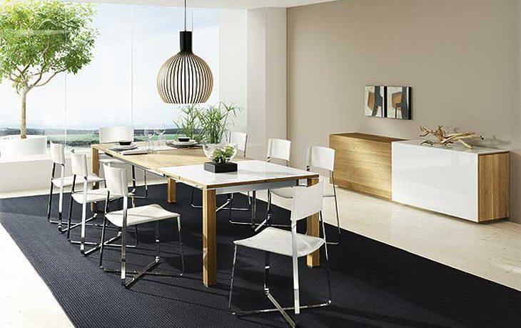 Team7 Modern Dining Room Set Chrome Acrylic Chairs and Black Rug