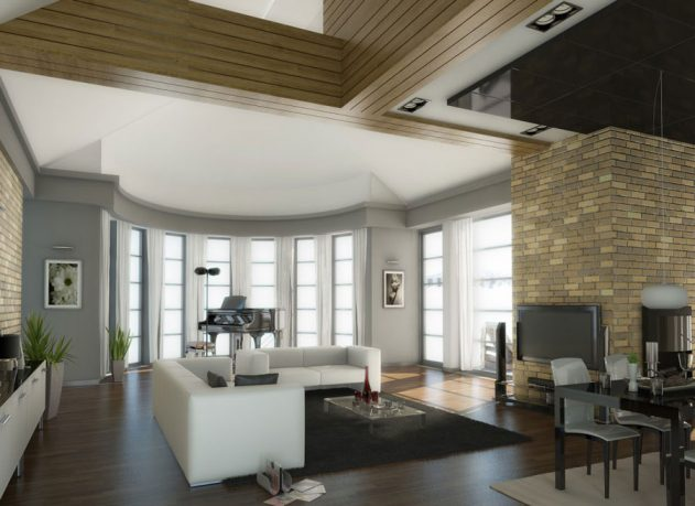 Traditional Living Room with Brick Wall Decorations