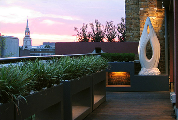 Urban Landscape Roofdeck Ginko Biloba and Abstract Sculpture