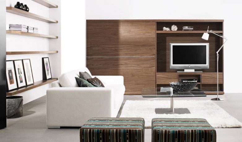 White Living Room Artwork with White Rug And TV Flat