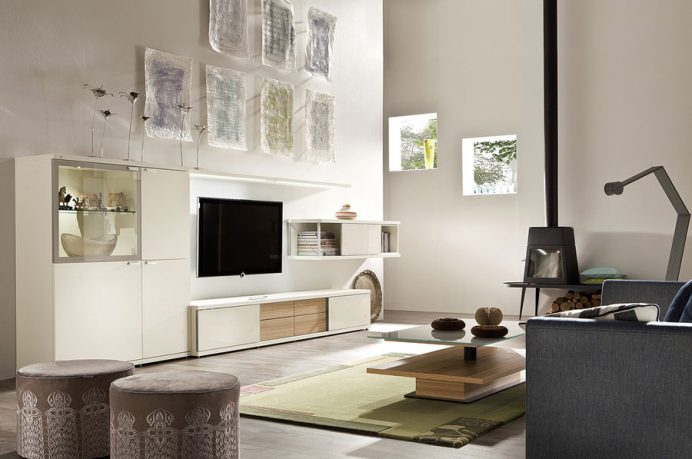 White Living Room Bears Warm Contemporary Tradition