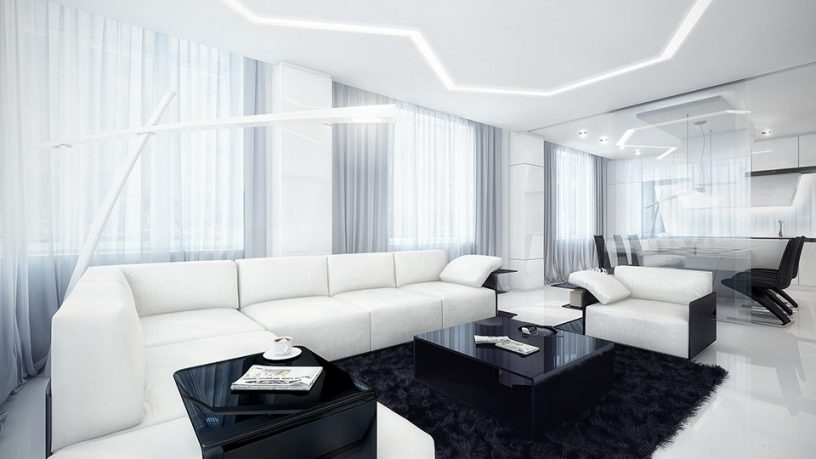 White and Black Living Area with Installation Zig Zag Lamp