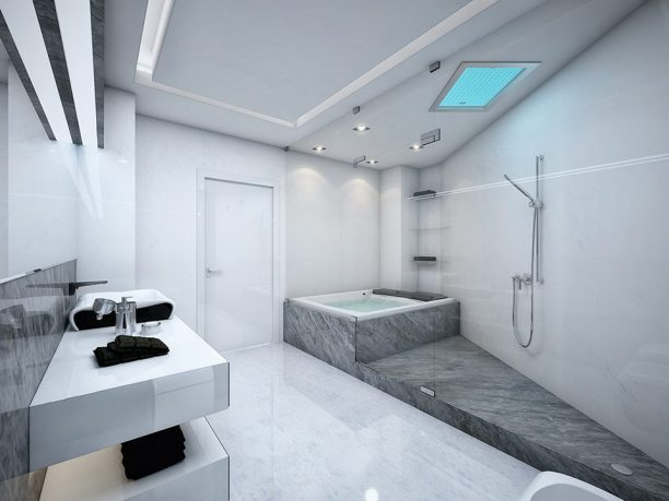 White and Grey Bathroom with Glass Wall Design
