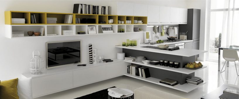 White and Wood Kitchen Open to Living Room TV Set
