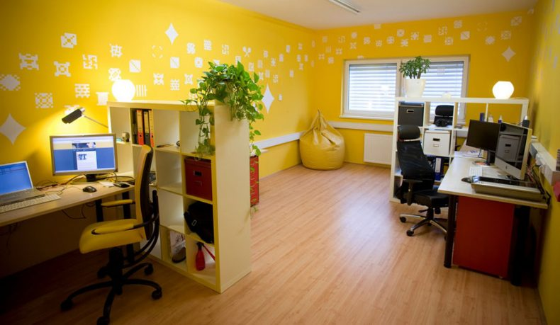 Yellow Office with Pixel Wall Decor