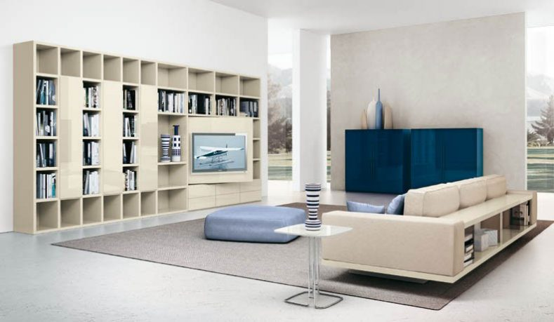 Awesome Cream Shelves and Sofa with Blue Box Decor