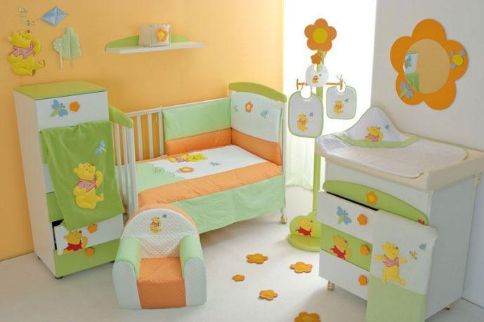 Baby Crib Furniture Set with Orange and Green Winnie the Pooh Decor