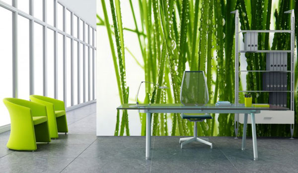 Beautiful Work Room with Fresh Grass Wallpaper Ideas