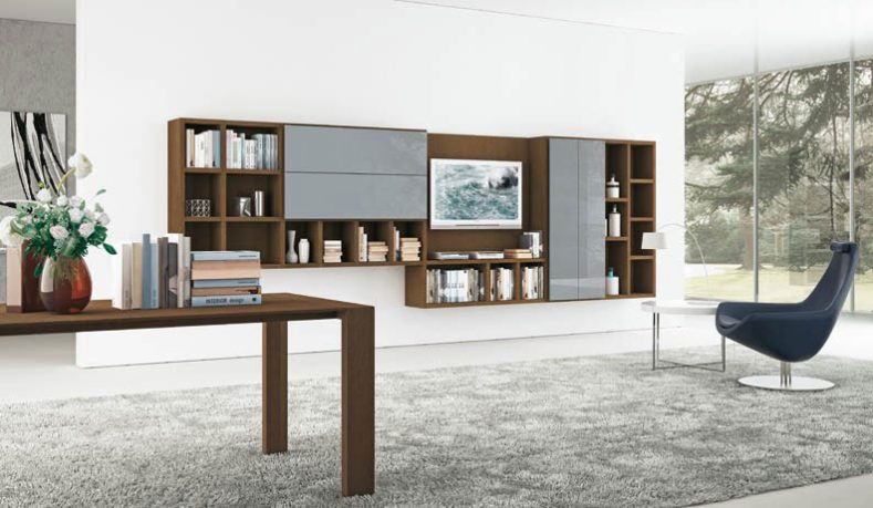 Brown and Grey Shelving Unit in Large Space Living Room