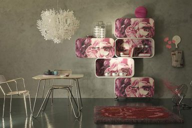 Cocoon Shelving System Covered with Digital Printing of Roses