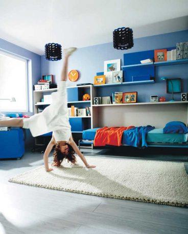 Cool Blue Kids Room with Beige Rug Color