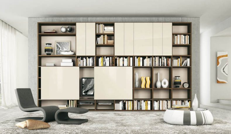 Cream and Brown Shelves with Sliding Doors TV Stand