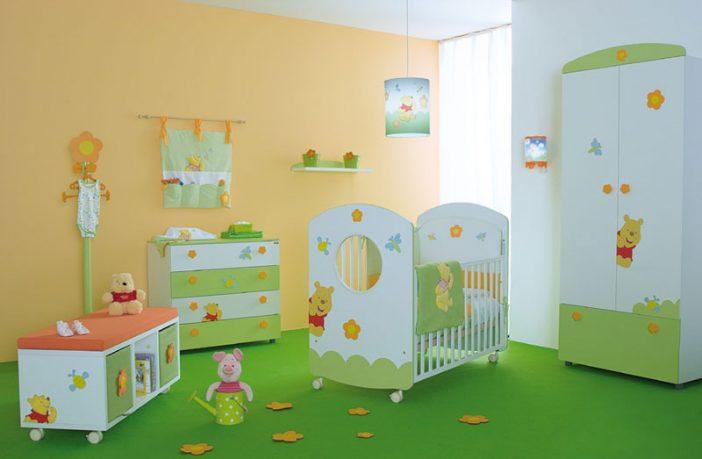 Cute Baby Nursery Room With Winnie the Pooh Furniture Decor