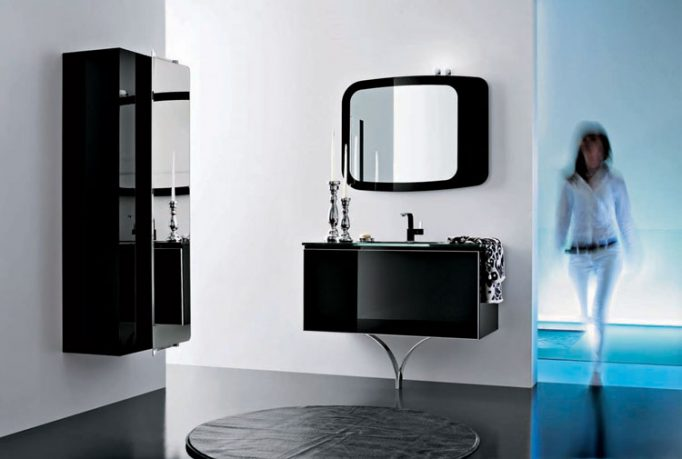 Exotic Black Bathroom Furniture with Pretty Candles and Round Rugs