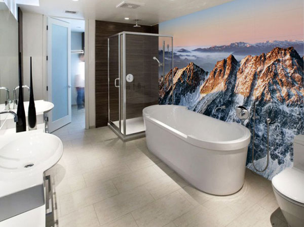 Ice Montain Wall Decor in Modern Bathroom by Eazywallz