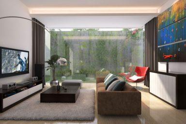 Living Room with Glass Door Courtyard View