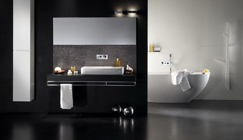 Minimalistic White Bathtub in Black Bathroom Design Inspirations